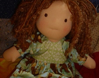 Waldorf  type doll  with dress and crocheted shoes