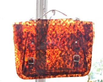 Large bag number 3 Tortoiseshell vinyl plastic satchel or backpack crossbody strap (Handmade to order)