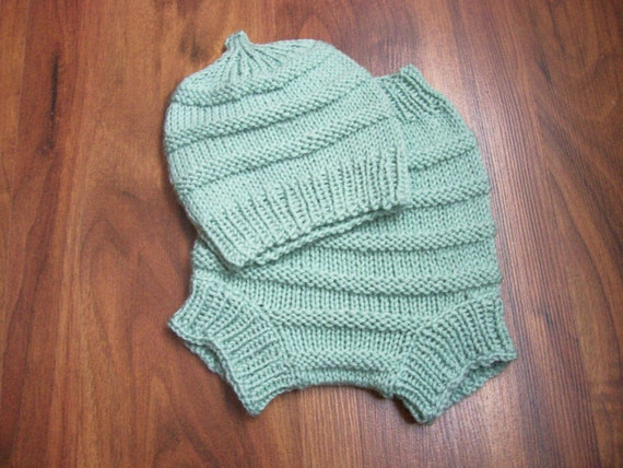 Hand Knitted Wool Diaper Cover with matching Hat Baby Diaper Cover Wool Baby Wool Soaker diaper set size Large 12 -18 months