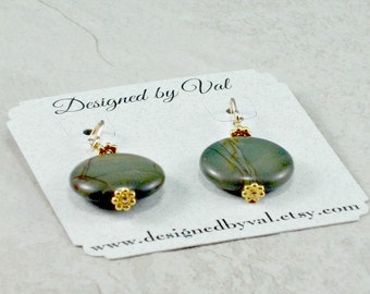 Owhyhee Picture Jasper Dangle Earrings, Gold Filled Ear Wires