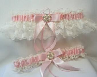 Light Pink Wedding Garters Ivory Lace with Pearl Rhinestone Garter