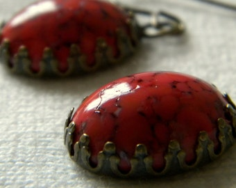 Vintage Coral Matrix Oval Glass Cabochon set in Antiqued Bronze Earrings