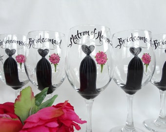 PERSONALIZED to YOUR Exact DRESSES Wedding Wine Glasses - Hand Painted Wine Glasses - Bridal Party Glassware -