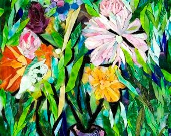 Flowers from My Garden Art Mosaic ~ Mixed Media Mosaic, painting with glass, mosaic art, custom piece, stained glass