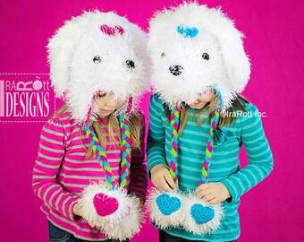 CROCHET PATTERN Pawla Maltese Puppy Dog Hat Crochet PDF Pattern Instant Download