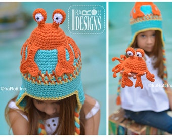 CROCHET PATTERN Cranky the Crab Hat & Amigurumi Toy Set  Crochet Pattern PDF Instant Download