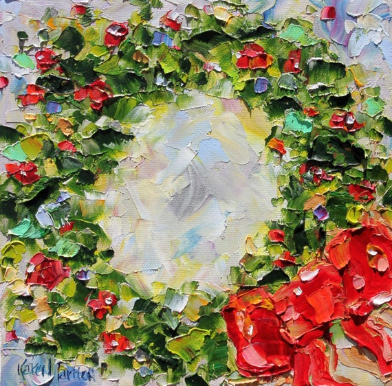 Original oil painting holiday christmas wreath impressionistic for Christmas images paintings
