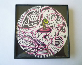 FRAMED Wormhole abstract Zentangle inspired, 4x4 inch, use a as a grouping on small wall.#16