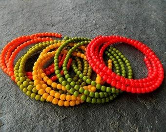 3mm Autumn Glass Druk Bead Mix, Czech Glass Bead Mix, Round Druk Beads, Red, orange, olive, avocado & orange Mix, 3mm (150pcs)