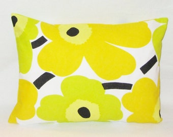 Yellow Marimekko pillow cover in Pieni Unikko, authentic Marimekko fabric from Finland , 12x16 or 12x20 inch,  FREE SHIPPING Canada and US