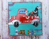 License Plate Art - Farm Dog in Truck - Man's Best Friend Pet Portrait Recycled Art Company Boys Room Nursery - Upcycled Artwork Baby Shower