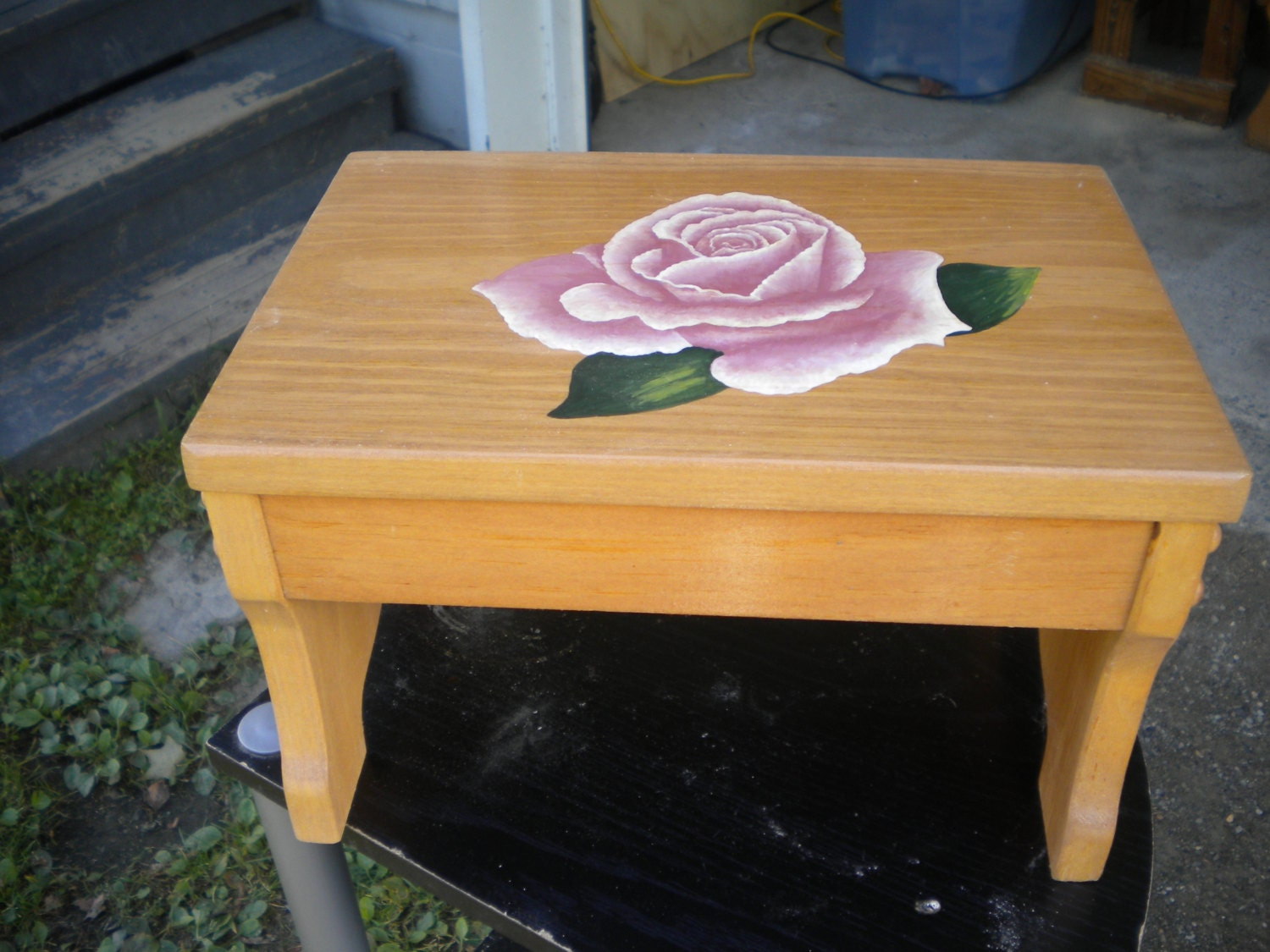 Step Stool Wooden Stool Acrylic Painting Pink Rose Hand
