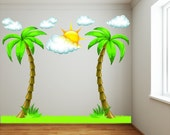 Palm Trees with Clouds and Grass Childs Beach Nursery Room Decals Bright and Colorful Complete Kit