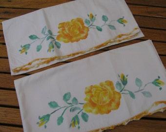 Pair Vintage Hand Stenciled Yellow Rose Pillowcase w/ Crochet Trim  Handmade