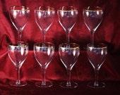 Vintage Gold Rim Crystal Wine Stems Set of 8