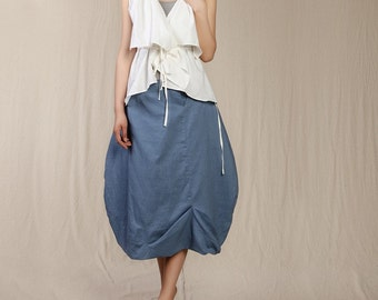 Romantic Sky Blue Pretty Linen Bud  Maxi Skirt (more colour and size choice)-NS17