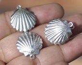 Sterling Silver Sea Shell Blank Pair Very Realistic 3D Sea Shells Enameling Jewelry Blanks
