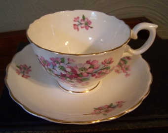 Vintage English Porcelain Tea Cup and Saucer, Pink Apple Blossoms, Staffordshire England, Elegant Tea Party