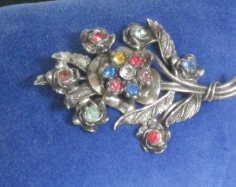 Vintage Rhinestone Brooch - Large Metal Flower Pin - Pewter color metal - Rhinestone Flower Brooch - Vintage Rhinestone - Little Nemo