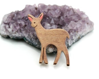 deer wooden brooch
