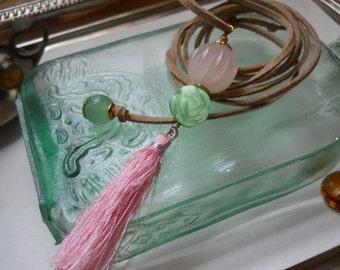 Rose Quartz and Pink Tassel Necklace