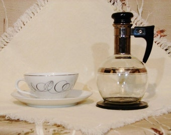 """CARAFE Set - Trimmed in Platinum - Inland Glass Works """"Individual Coffee Service for Four"""" in Original Box - Circa 1940's"""