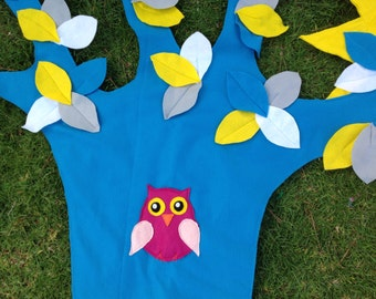 Felt Wall Hanging - Big Tree Wall Hanging - Turquoise Tree with Sun Wall Felt Decal - Children's Wall Decal - Felt Tree with Owl