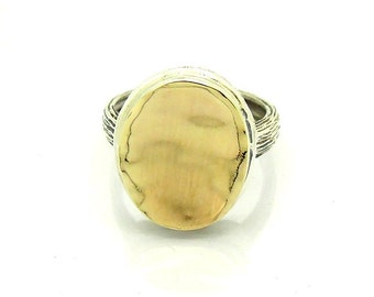 Silver ring with brushed gold and oval top