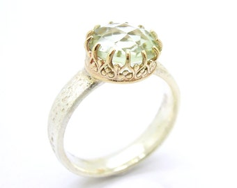 Green amethyst ring set in gold filigree & silver band