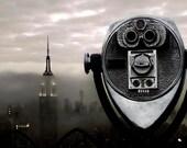 New York Print, Empire State Building, NYC Skyline, Fog, Black, Silver, Urban, NY Office Decor