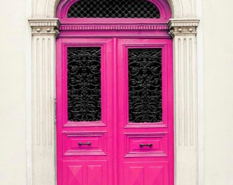 Hot Pink Door, Paris Photography, Black, Beige, Pink, Paris Door, Bubblegum Pink, Girls Room, Pink Decor