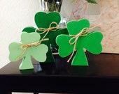 THREE SHAMROCKS for table, desk, mantle St. Patrick's day holiday decoration