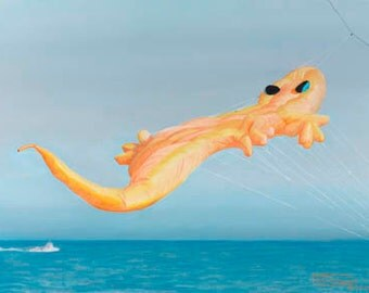 High Flying Gecko Paper Giclee Print Kite Festival by Carol Thompson
