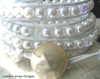 Free US Shipping! Leather Wrap White Bead and Swarovski Crystal Leather Four Wrap Bracelet