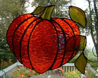 Pumpkin and Leaves Stained Glass Suncatcher
