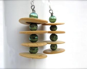 Green Pea Pearl Seed Disc Earrings