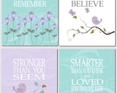 Kids Wall Art Nursery Art Baby Girl Nursery Lavender Purple Turquoise Aqua Promise Me You'll Always Remember Set of 4 Wall Art Prints