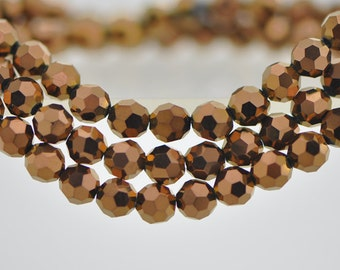 95pcs Round Faceted Crystal Glass Beads 6mm Metallic Copper - (32QZ06-46)