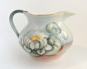 Antique Limoges Cider Lemonade Water Pitcher White Flowers on Pale Blue// Antique Porcelain Pitcher Hand Painted//Vintage Serveware