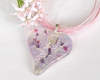 Fused Glass Heart Pendant -  Fused Glass Jewelry - Pink Dichroic Glass