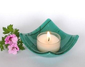 Candle Holder - Fused Glass - Tea or Votive Candle Holder - Teal Green