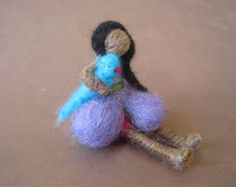 Needle Felted Doll, Native american doll, Waldorf toy, indian doll, long hair, Doll with Bird, 4 inch, Original design by Borbala Arvai