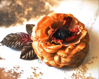 Sale clearance--Mustard, rust and  brown rose clip with vintage velvet leaves. Hair fashion accessory ready to ship
