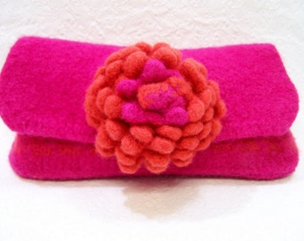 Wool Felt Dahlia Clutch, Felted Wool Clutch Bright Pink, Orange, Floral Clutch Bag, Flower Clutch Purse, Bridesmaid Clutch Bag, Trends