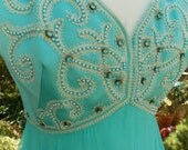 Vintage turquoise chiffon beaded party cocktail dress with jacket
