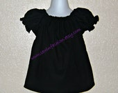 Custom Boutique Classic Black Peasant Top Sizes 12 month 18 month 2T 3T 4T 5yr 6yr 7yr