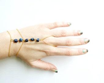 Gold Slave Bracelet, Gemstone Hand Chain Bracelet, Pyrite Hand Chain Bracelet, Hand Flower