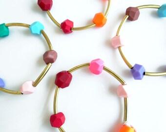Gold Bangle Bracelet, Hexagon Geometric Bracelet, Colorful Minimalist Geometric Jewelry - Your Color Choice