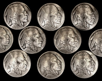 10 Buffalo Nickel Concho Buttons - Loop Back - Indian Head