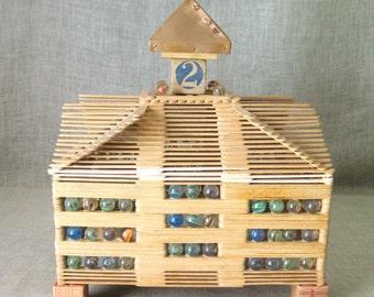 Vintage Folk Art Popsicle Stick Building, Architectural, Handmade, Architecture, Barn, Scale, Primitive, Rustic, Cabin Decor, Tramp Art